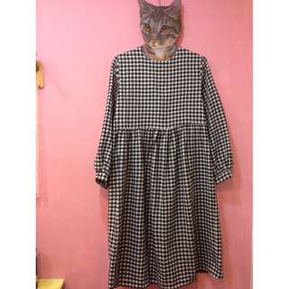 [彩色櫥窗]zipper,vintage非轉賣planet,kouzou百搭款黑色格子基本娃娃袖長洋裝