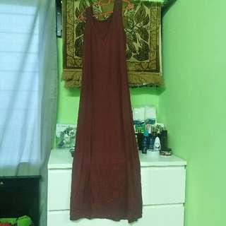 Maxi Dress-Maroon Color
