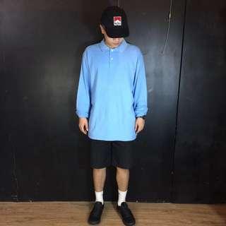 第二件六折*古著FILA天空藍長袖polo衫/上衣