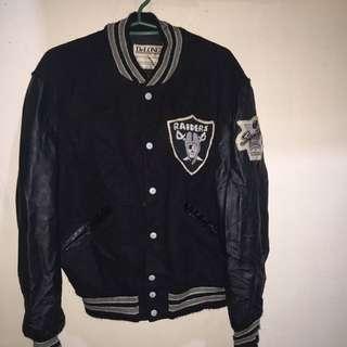 Raiders black leather sleeves varsity jacket large