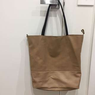 Large Tan Tote Shoulder Hand Bag