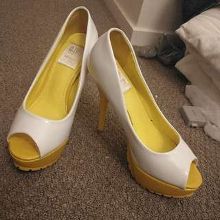 White and yellow High heels