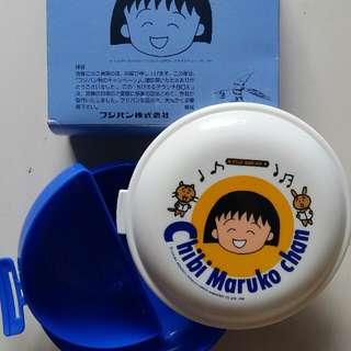 全新 日本 櫻桃小丸子 中古 90年代 昭和時期 圓形藍色飯盒