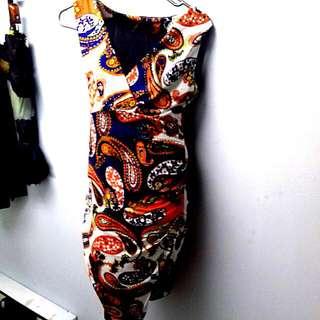 Paisley Print Stretchy Bodycon Dress.