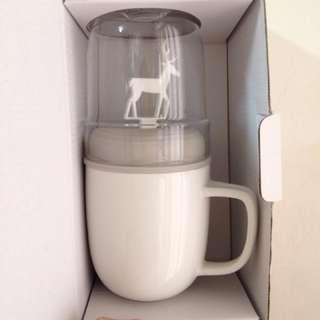 【dipper】1+1 灰麋鹿雙杯組(馬克杯+玻璃杯子+攪拌棒+杯蓋)