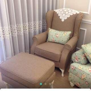 鄉村風主人椅+腳凳