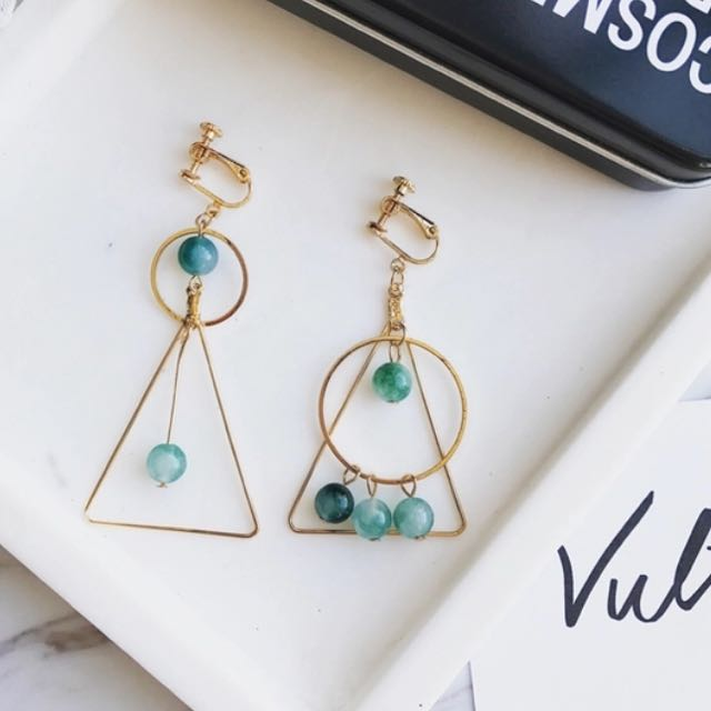 三角藍珠耳夾/耳針耳環