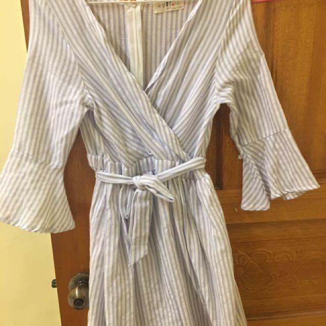韓版直條洋裝