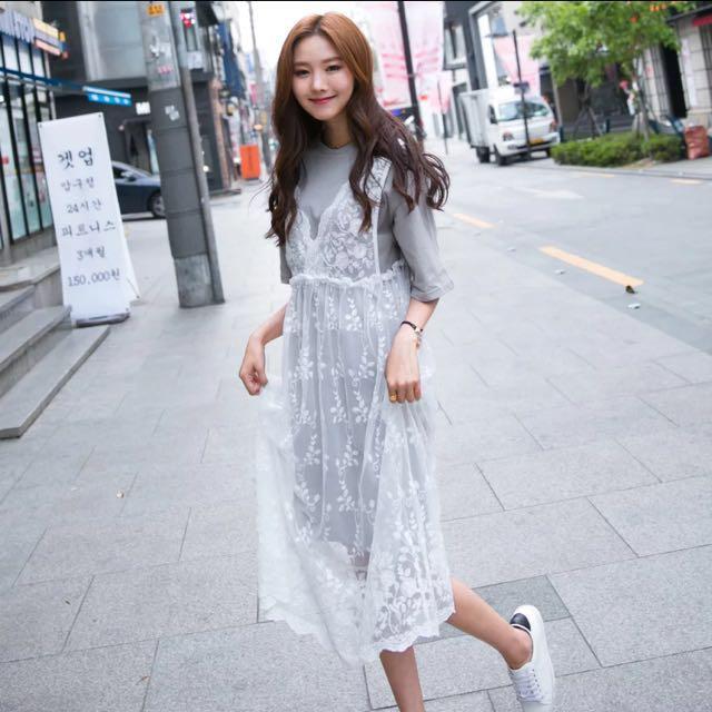小清新蕾絲簍空外搭連衣裙 全新