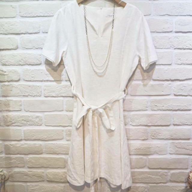 正韓 白色 棉麻綁帶洋裝