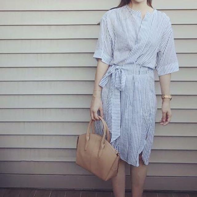 正韓 設計師款 條紋洋裝