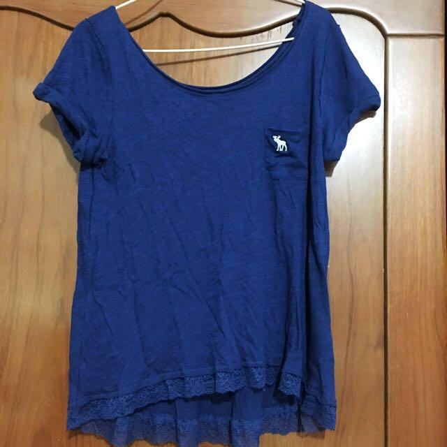 全新含運 A&F 藍色短袖棉上衣