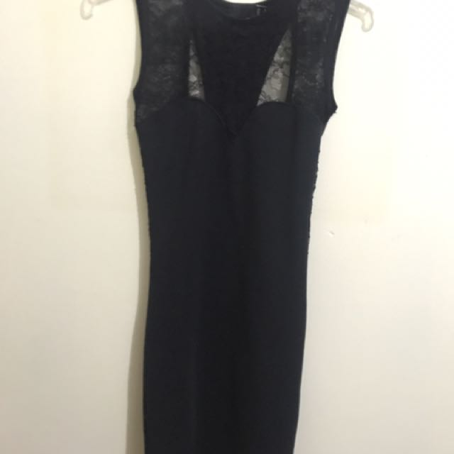 ASOS petite black lace dress