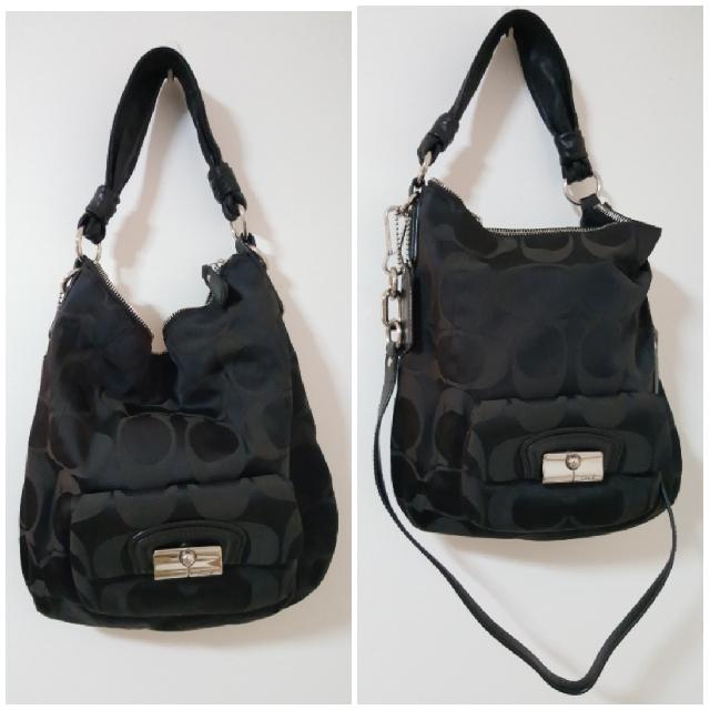 7c8237a285a5 Authentic Coach Signature Op Art Kristin Black Canvas Leather Hobo ...