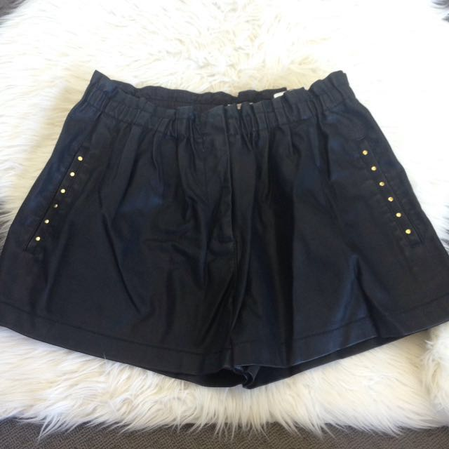 Black Leather Looking Good Quality Shorts Size 10