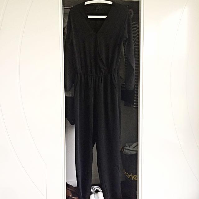 Black Long Jumpsuit H&M Size 10