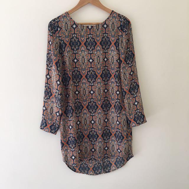Boho style silk like dress size s