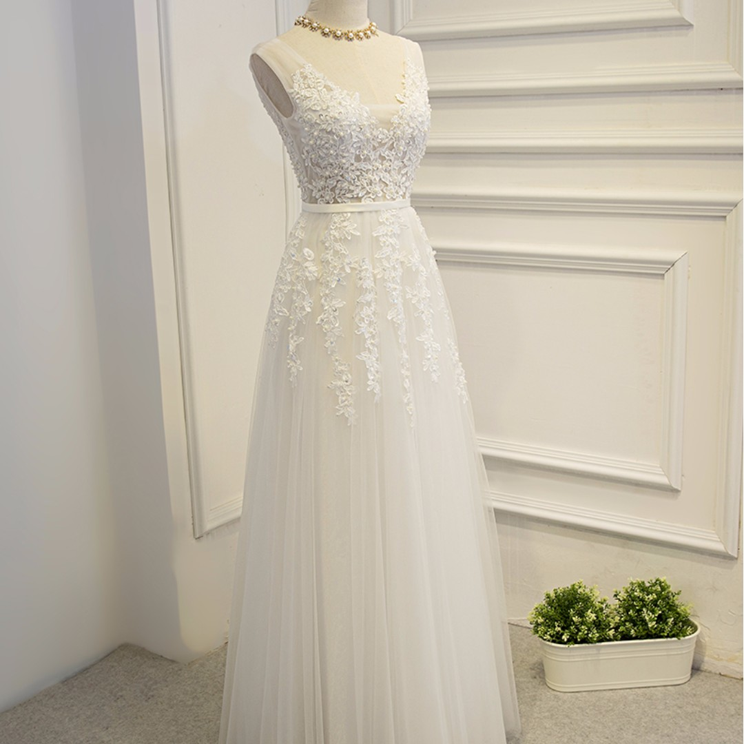 Free Delivery Classic Lace And Tulle Wedding Gown Xs Xxxl