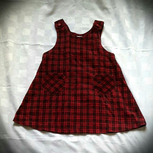 Corduroy black n red dress