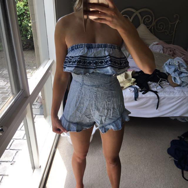 Denim strapless jumpsuit size s