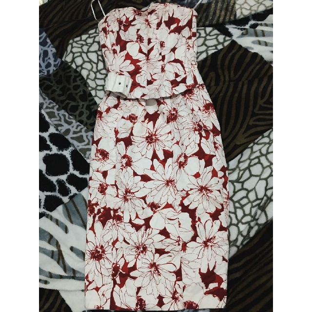 Floral White & Red Dress