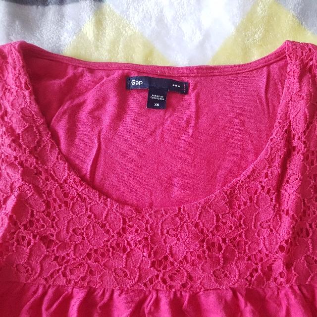GAP Lace Pattern Pink Tank Top Size S (8)