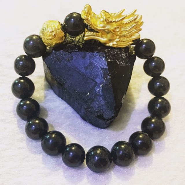 Golden Dragon with Fireballs with the Black Jade for Ultimate Wealth Magnet