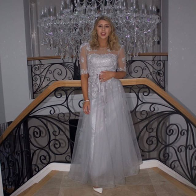 Grey/blue formal dress (lace) *hire* or *buy*