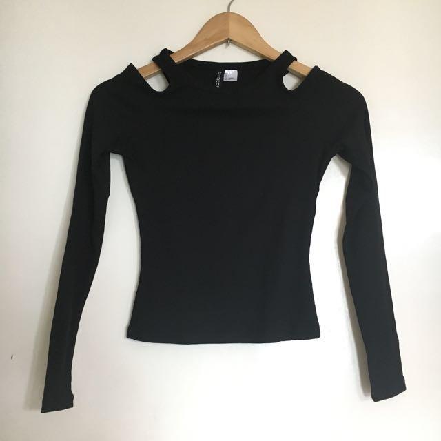 H&M Black Cold Shoulder Top
