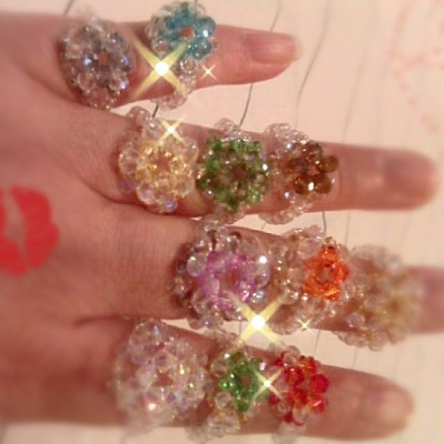 HOMEMADE Creative DIY Hand-Crafted ColourfuI Crystal Ring•Ideals for ...
