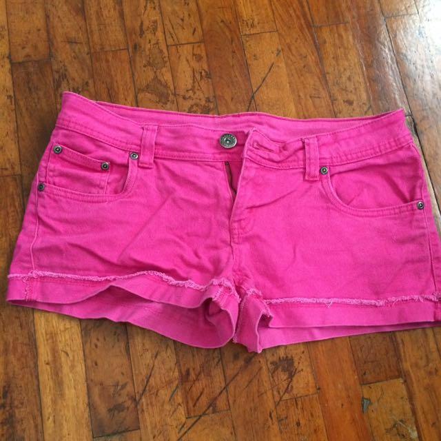 Hot pink denim short