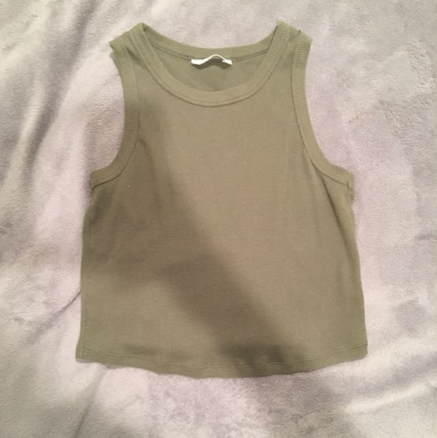 Khaki green sleeveless top