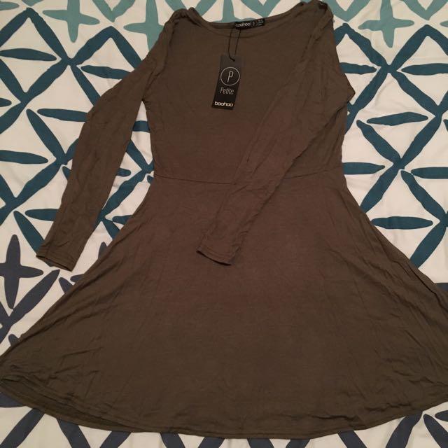 Khaki long sleeve skater dress