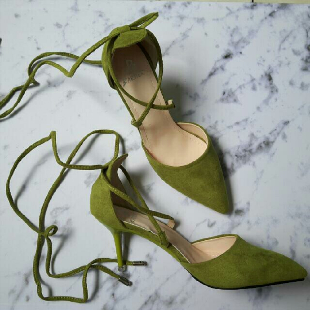 Lace Up Heels In Olive Green