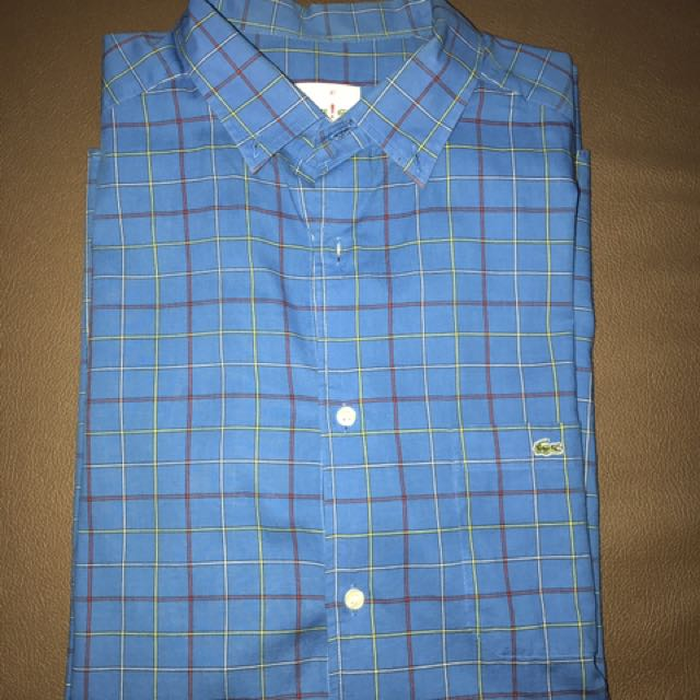 """Lacoste Play Light Blue Checkered shirt size 41"""" (M)"""