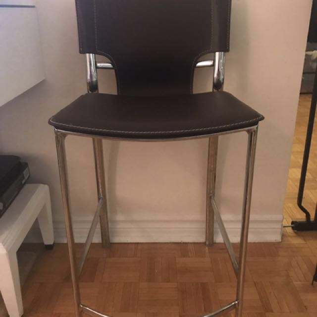 Leather Bar Stool Pair