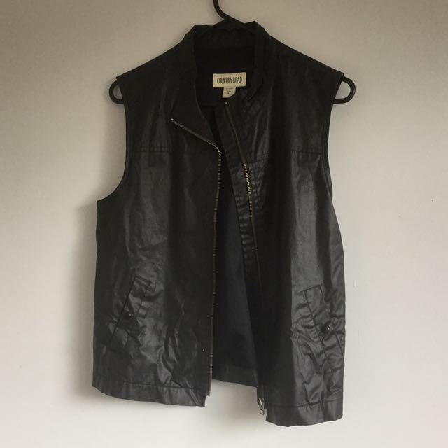 Leather look vest