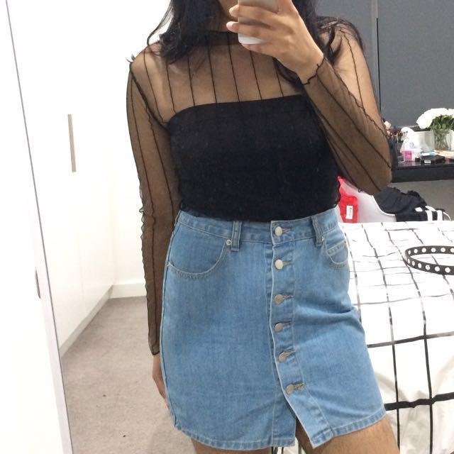 Light wash denim mini skirt