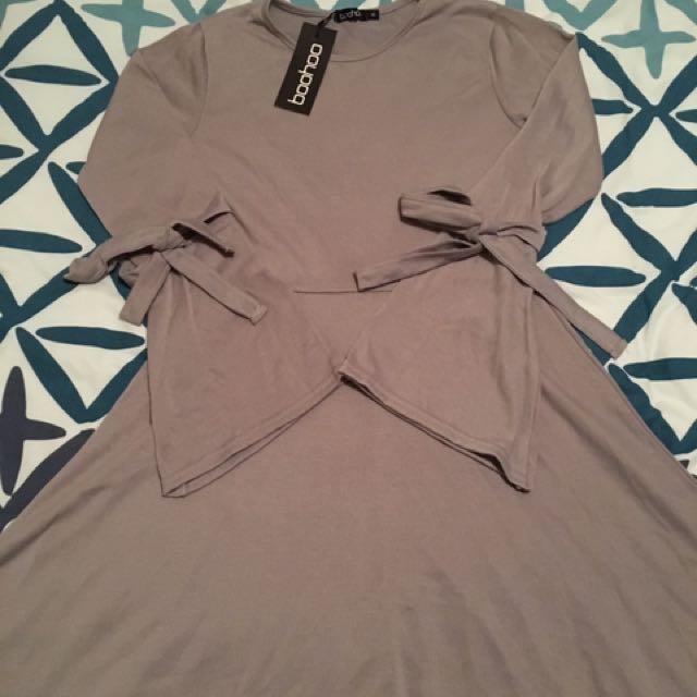 Lilac/grey tie sleeve skater dress