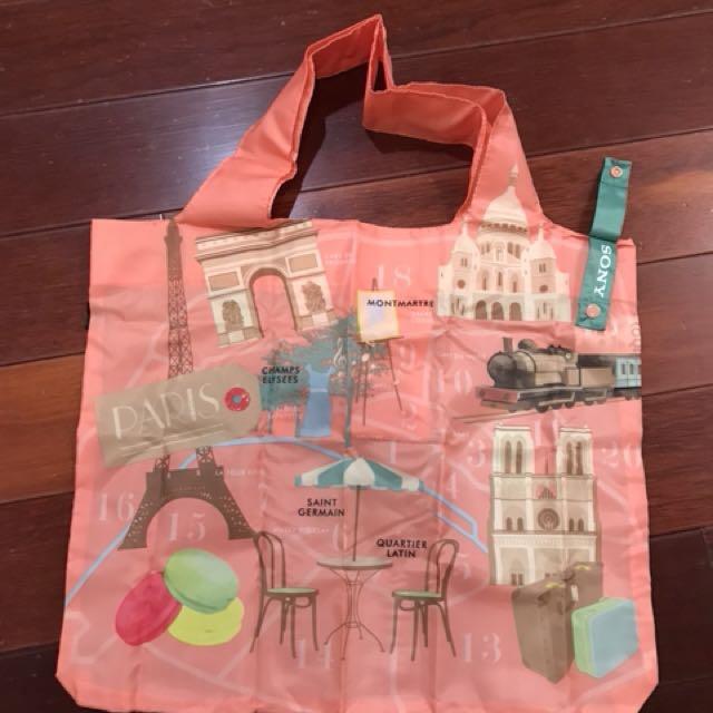 全新LOQI春捲包購物袋尼龍環保包袋折疊袋附收納袋SONY聯名巴黎