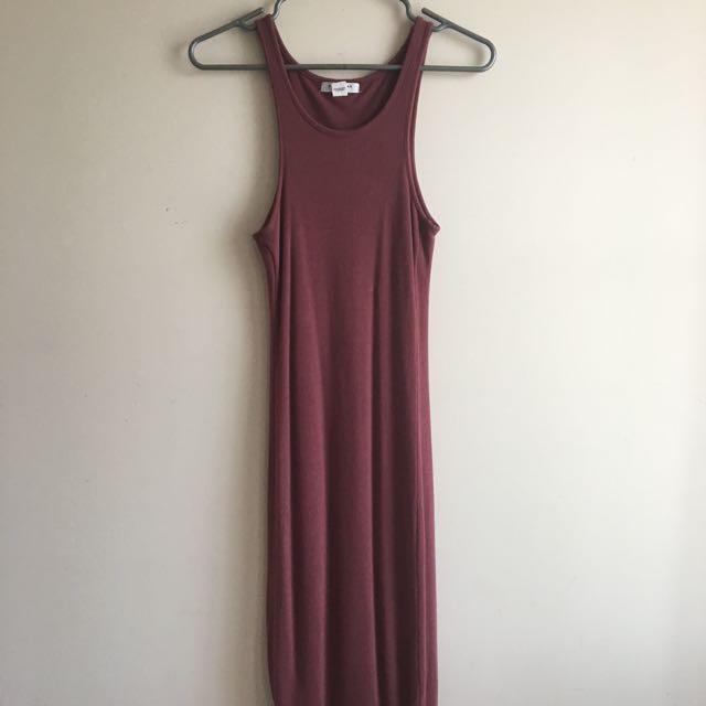Mauve Bodycon Midi Dress