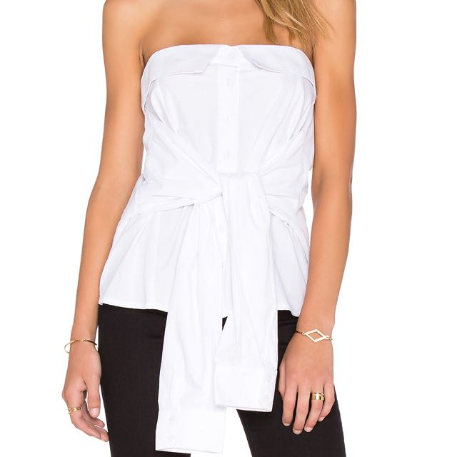MLM size S bustier strapless tie up shirt top