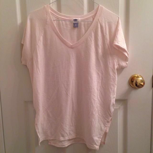 OLD NAVY Light Pastel Pink Plain T-shirt/shirt/tee/V-neck top/clothes/clothing