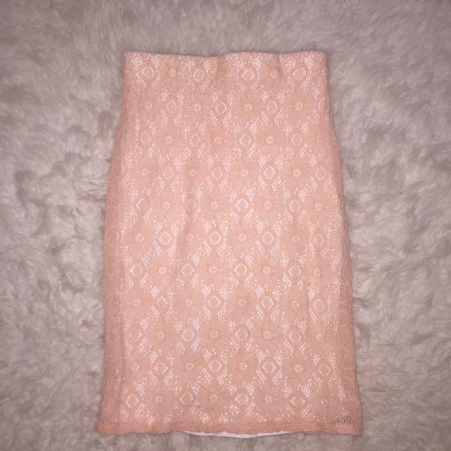 Peach Lace Bodycon Skirt