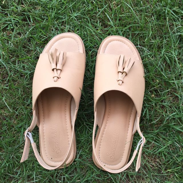 PL Beige Leather Slip Ons