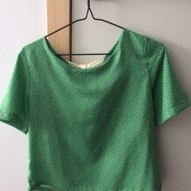 Polkadot Green Top