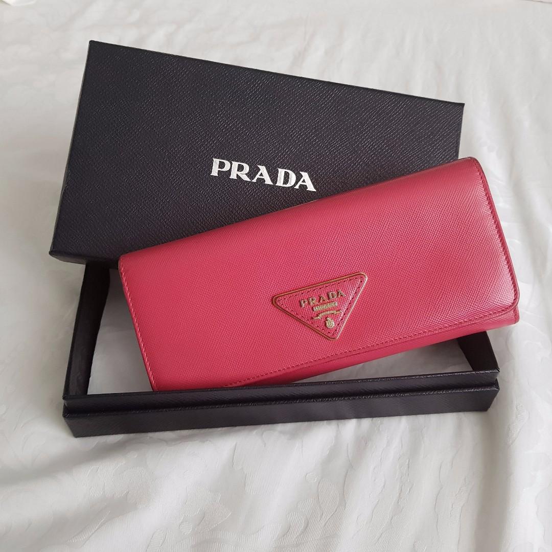 ab2a54907723dd PRADA Saffiano Triangle Long Flap Wallet, Peonia, Luxury, Bags ...