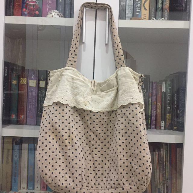 PRELOVED beige polka bag
