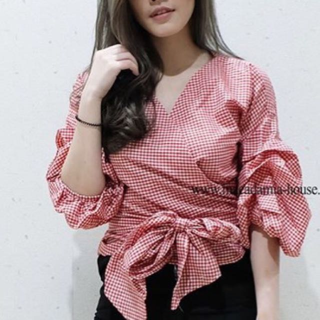 Red Picnic Ruffle Tied