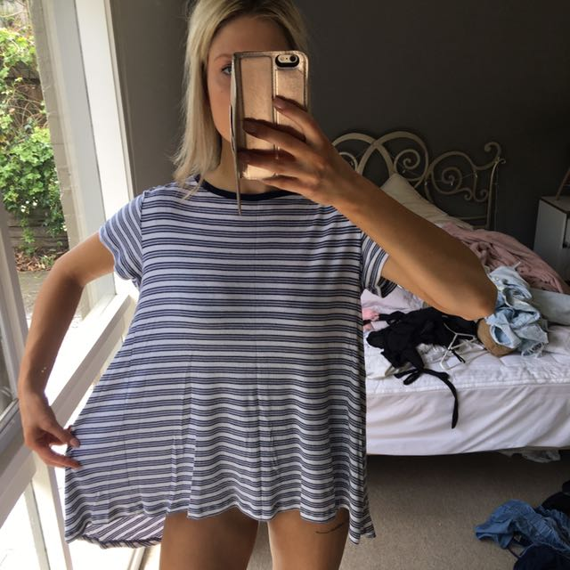 Relaxed fit striped top size s-m